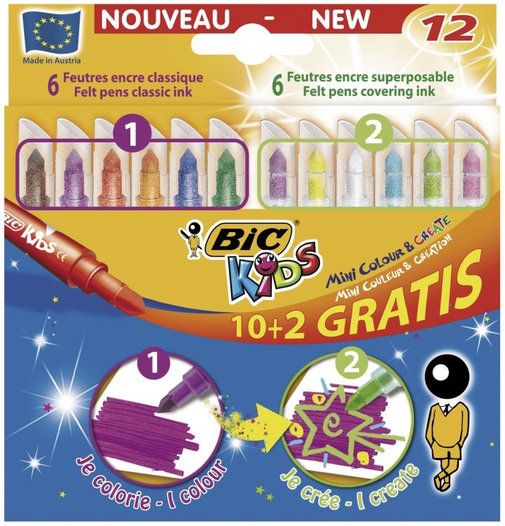 Flamastry Mini Colour&Create 10+2 893238 zmywalne BIC