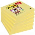 Bloczek samop. POST-IT Super Sticky (654-P6SSCY-EU), 76x76mm, 5+1x90 kart., żółty, 1 bloczek GRATIS