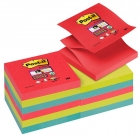 Bloczek samoprzylepny POST-IT® Super sticky Z-Notes (R330-12SS-JP), 76x76mm, 12x90 kart., energiczne kolory